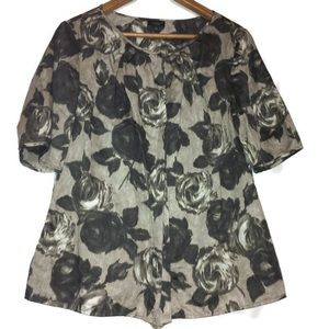 Talbots Gray Rose Floral Blouse